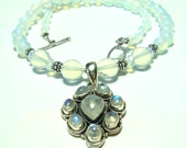 Luminous Rainbow Moonstone Pendant and Glowing Opalite Necklace with Sterling