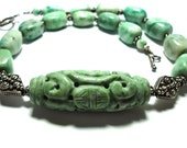 Ching Hai Jade Hand Carved Chinese Bead Necklace with Sterling