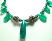 Emerald Green Onyx Necklace with Sterling