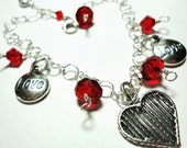 Charm Bracelet w Hearts Valentines Sweet Love Charms and Red Crystals In Solid Sterling w Adjustable Clasp
