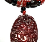 Red Dragon Carved Carnelian Medallion With Old Jade Carved Beads Necklace with Sterling