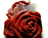 Red Jasper Carved Roses Red Roses Carved Red Jasper Roses and a Rose Garland Necklace with Sterling