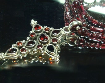 Garnet Cross and Garnet Bead Necklace in Sterling