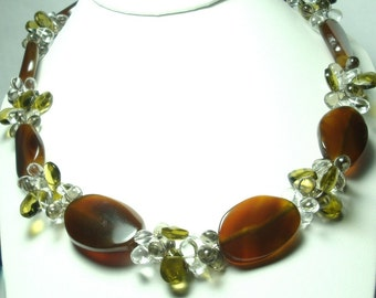 Brown Chalcedony and Peridot Quartz Necklace in Sterling