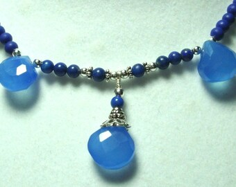 Blue Agate Necklace Blue Chalcedony and Lapis Necklace with Sterling