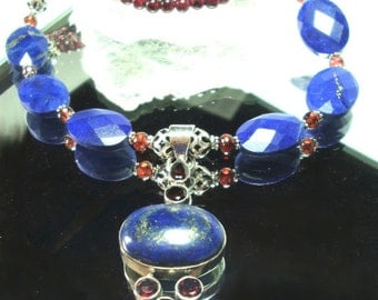 Lapis Necklace Royal Blue Lapis with Garnets Pendant and Necklace In Sterling