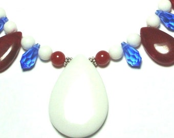 Summer Holidays Patriotic Red White and Blue Necklace w Red and White Beads and Blue Crystals Fourth of July or Nautical Necklace w Sterling