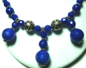 Blue Agate Necklace Cobalt Blue Bib Necklace Faceted Blue Agate Necklace with Sterling Bali and Toggle Close