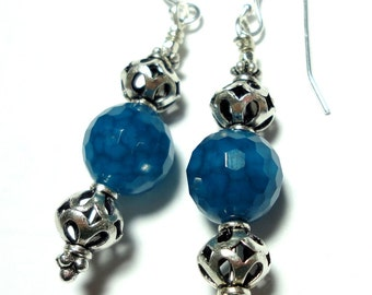 Blue Agate Earrings with Sterling FIligree Bali Beads
