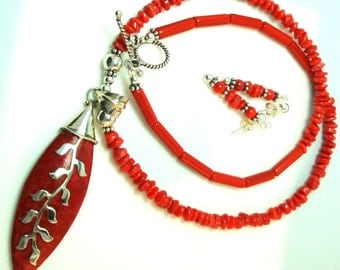 Red Sponge Coral Necklace with Red Coral Beads Sterling Vine and Sterling Beads and Toggle