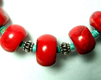 Red Coral Necklace Bright Red Bamboo Coral Necklace with Turquoise and Sterling Bali Beads
