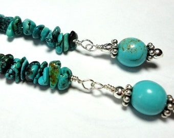 Turquoise earrings Genuine Turquoise Nugget and Bead Earrings in Sterling