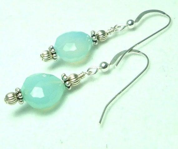 Seafoam Green Aqua Chalcedony Earrings with Sterling