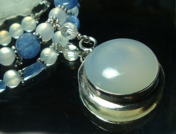 Ethereal Blue Chalcedony and Kyanite Necklace with Sterling