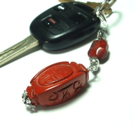 Carved Red Jasper Zipper Pull, Purse, Key Chain Charm with Sterling