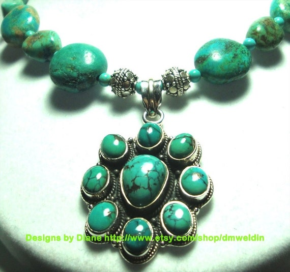 Real Turquoise Pendant and Necklace with Sterling
