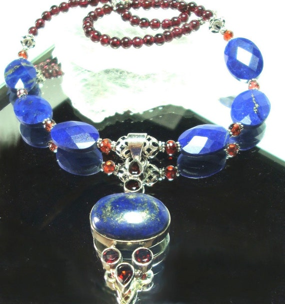 Royal Blue Lapis with Garnets Pendant and Necklace In Sterling