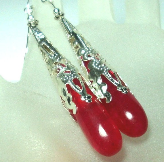 RESERVED FOR MEGAN A. Exotic Elongated Hot Pink Jade Teardrop Earrings with Ornate Caps