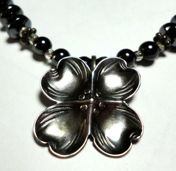 Antiqued Sterling Dogwood Flower Pendant with Hematite and Sterling