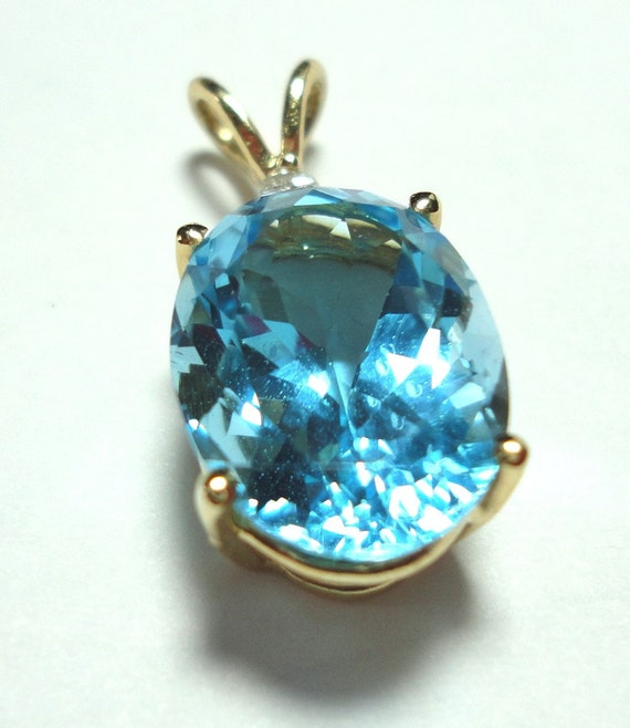 Reserved for JOE Vintage Swiss Blue Topaz 14K Pendant w Diamond