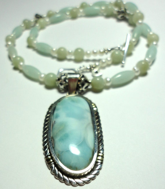 Larimar Necklace and Pendant Set in Sterling with Amazonite and Pearls Necklace and Sterling