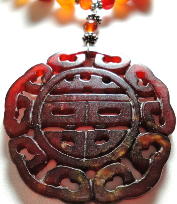 Carved Asian Medallion and Carnelian Necklace with Sterling