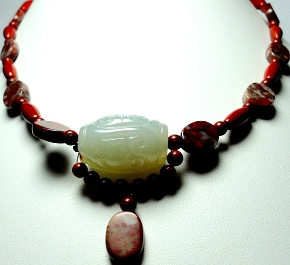 Red Jasper Choker with Carved Jade Bead Necklace with Sterling