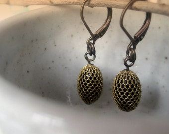 Vintage Black beads wrapped in gold mesh earrings.