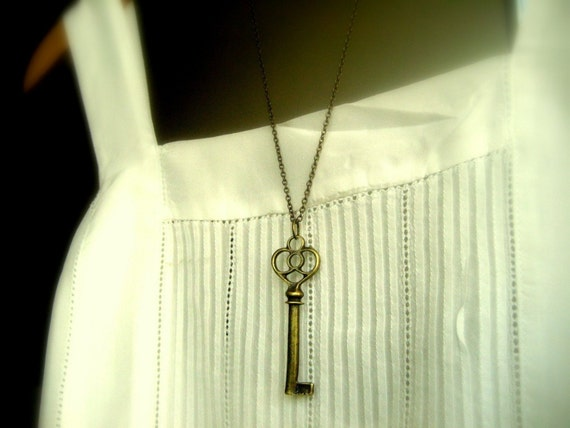 the key to my apartment... - Antiqued brass victorian vintage Crown Skeleton Key pendant necklace