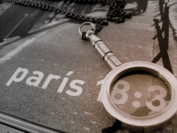 Lost in Paris.  Real Magnifying Glass Pendant Necklace.
