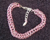 Box Chain in Pink Silver Enameled Copper and Stainless Steel