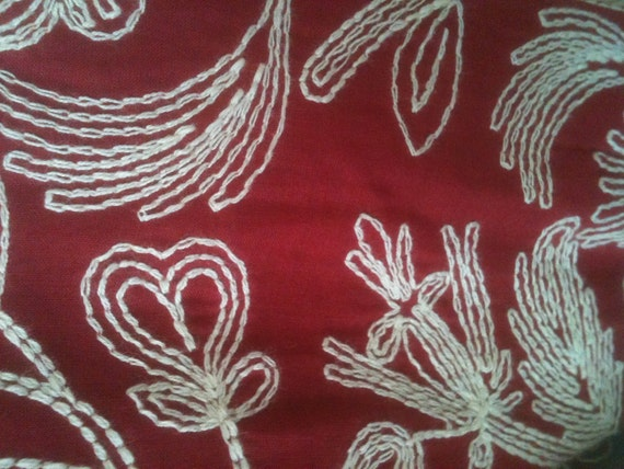 Vintage 1950's Dress Red White Floral Embroidered Embroidery 50s Style S  Small