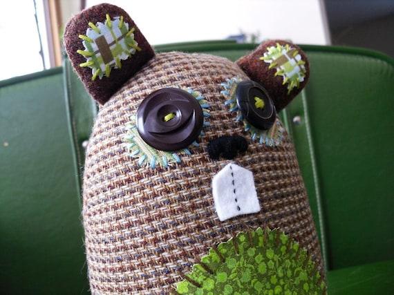 Handmade Plush Beaver, Stuffed Beaver Art Doll - Geraldine