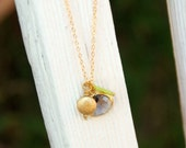 Gray Green Gold Gold Pendant Necklace - Early Spring