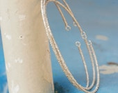 Silver Beaded Bangle Bracelets - Set of 3