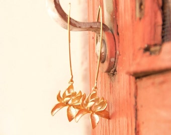 Lotus Flower Gold Earrings - Long