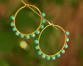 Boho Woven Hoop Earrings - Gold with Turquoise Swarovski Crystal