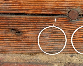 Matte Silver Textured Hoop Earrings