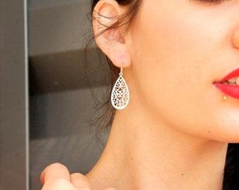 Filigree Teardrop Earrings in Matte Silver
