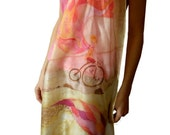 Hand painted Silk scarf in yellow pink colours-Girl on vintage bike. L GIFTS for women