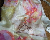 "Fashiopnable Hand painted Silk scarf  ""Girl on vintage bike"" for woman"