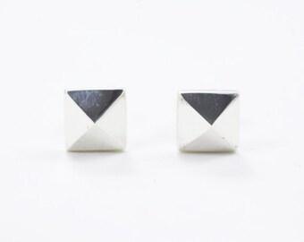 Pyramid Stud earrings in sterling silver