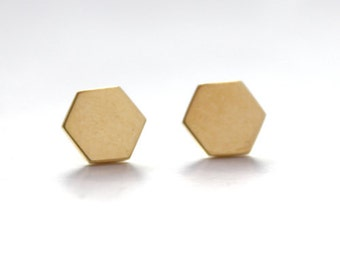 Hexagon Stud Earrings 14K gold dipped IN STOCK!
