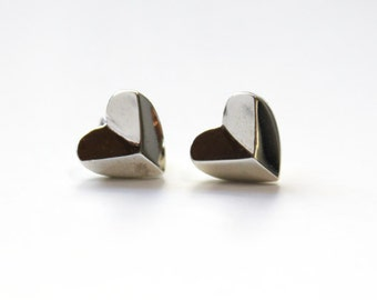 Heart Shaped Pyramid Stud Earrings sterling silver IN STOCK!