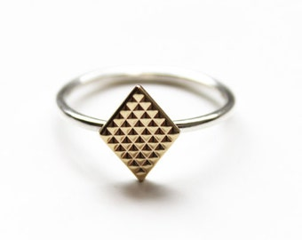 Deco Ring (14K gold and silver)