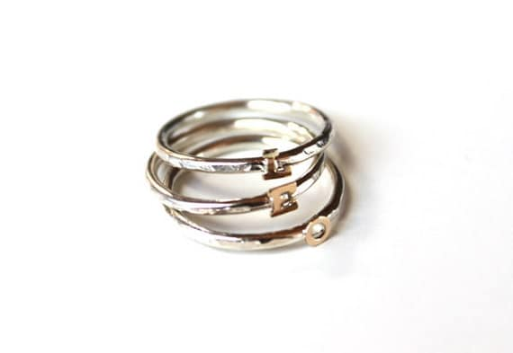 Tiny Initial Ring Silver and 14K gold (Custom order)