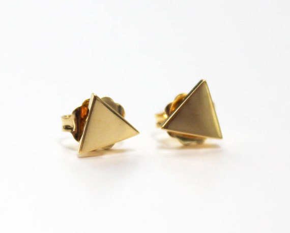 Tiny Triangle studs (14K gold dipped)
