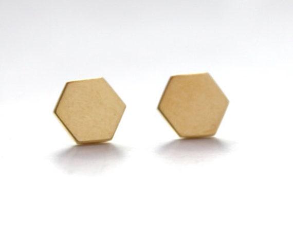 Hexagon Stud Earrings 14K gold dipped