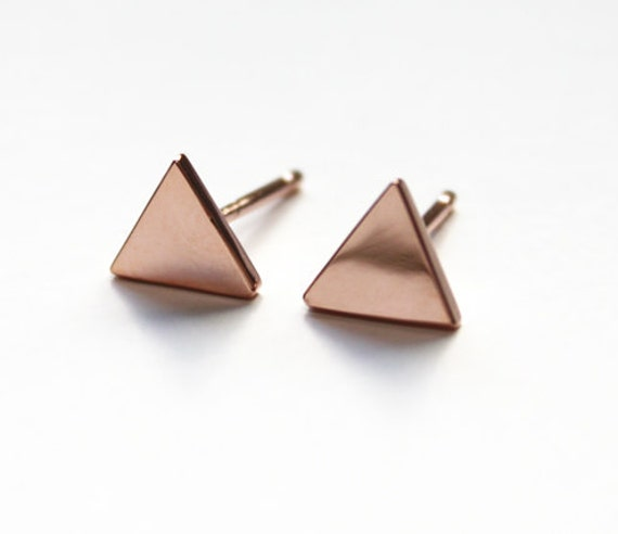 Tiny Triangle Stud earrings 14K rose gold dipped by TinyArmour