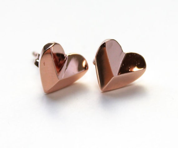 Heart Shaped Pyramid Stud Earrings 14K rose gold dipped
